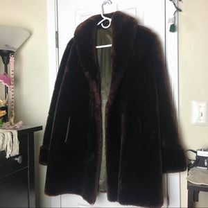 Jackets & Blazers - Chocolate brown vintage mouton faux fur coat